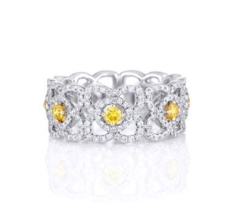ENCHANTED LOTUS BAND WITH FANCY YELLOW CENTRE DIAMONDS