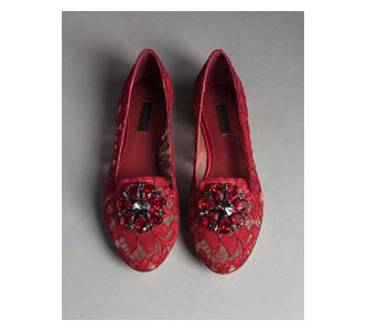 TAORMINA LACE VALLY SLIPPERS WITH BROOCH