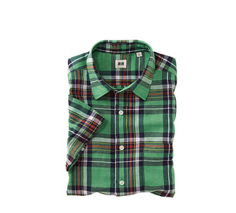 MEN LINEN COTTON MADRAS CHECK SHORT SLEEVE SHIRT