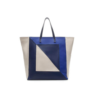 SHOPPER BAG WITH THREE SHADES OF BLUE